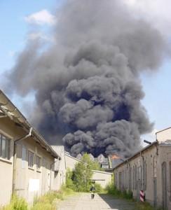 Brand auf ehemaligem NVA-Gelände in Finow